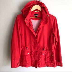 Lands End Red Hooded Rain Jacket